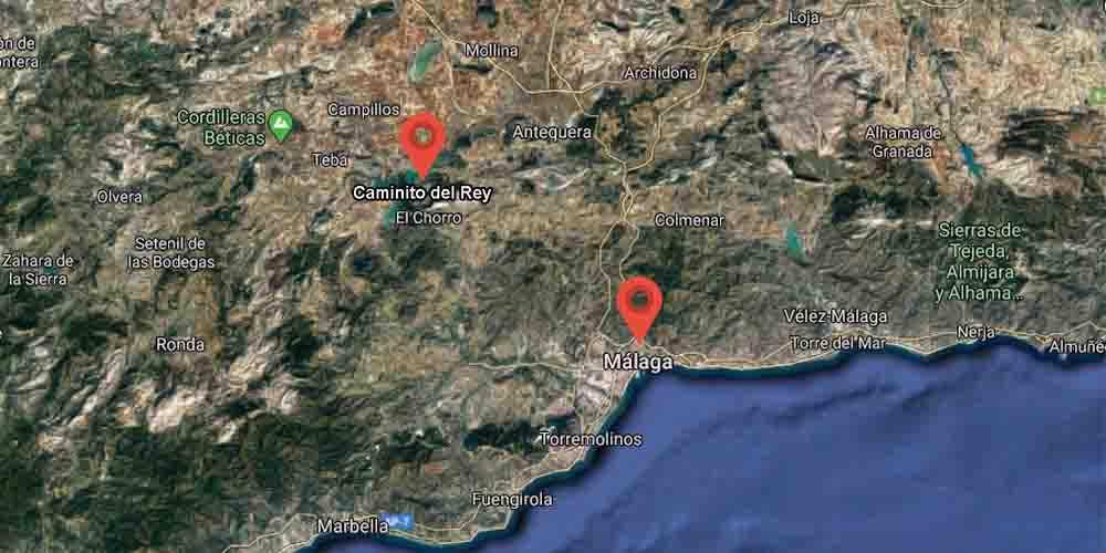 Ubicación en el mapa de Málaga de dónde está el Caminito del Rey.