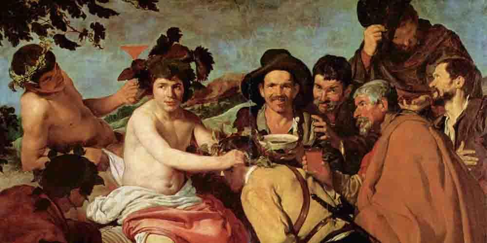 Cuadro del Triunfo de Baco, en la exposición de Velázquez en el Museo del Prado.