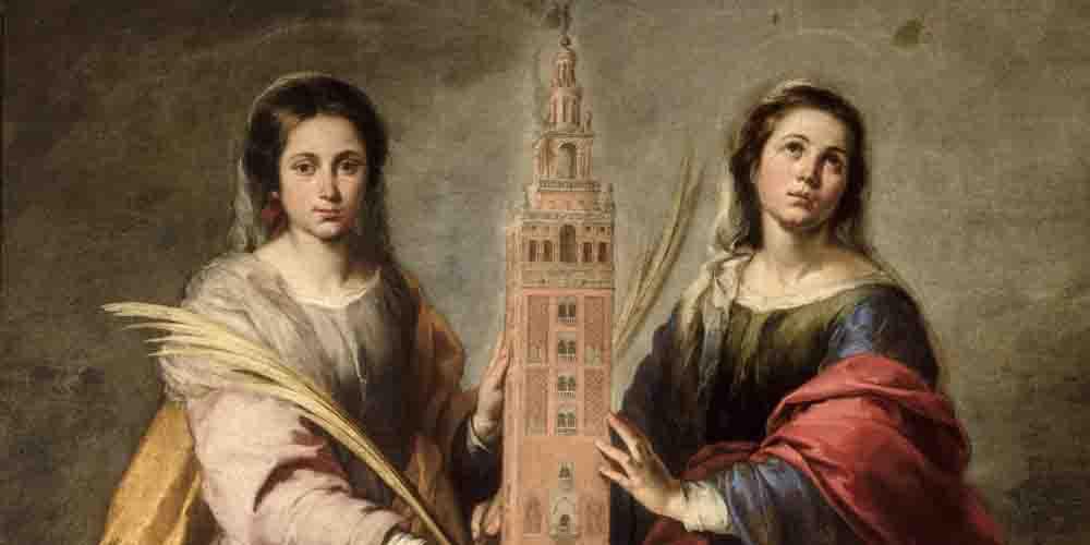 Cuadro de Murillo en el Museo de Bellas Artes: Santas Justa y Rufina con la Giralda.