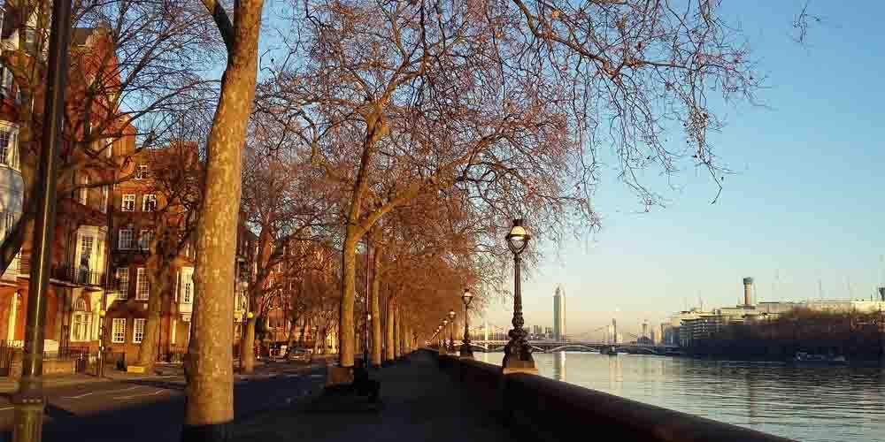 El barrio de Chelsea y el río Támesis en otoño, uno de los barrios más exclusivos donde dormir en Londres.