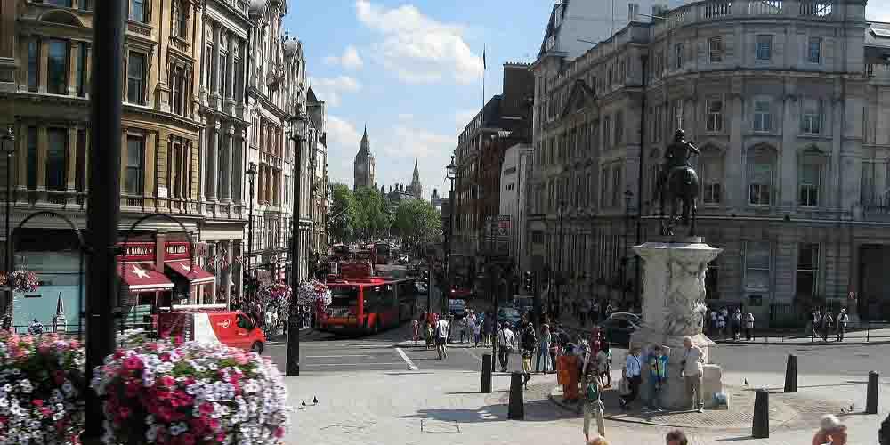 Trafakgar Square, una zona donde alojarse en el West End de Londres.