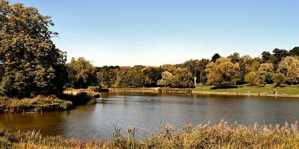 Un lago del parque de Londres Hampstead Heath