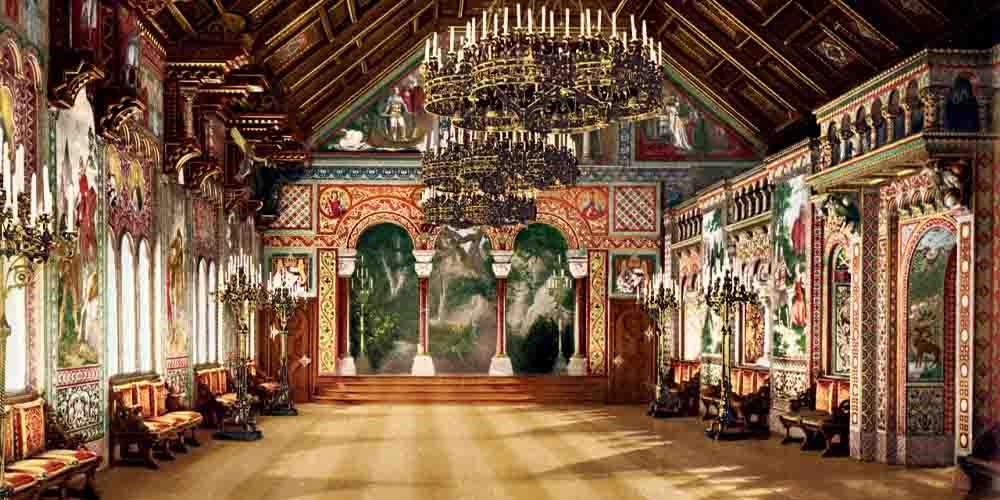 La Sala de los Cantores en el Castillo de Neuschwanstein por dentro.