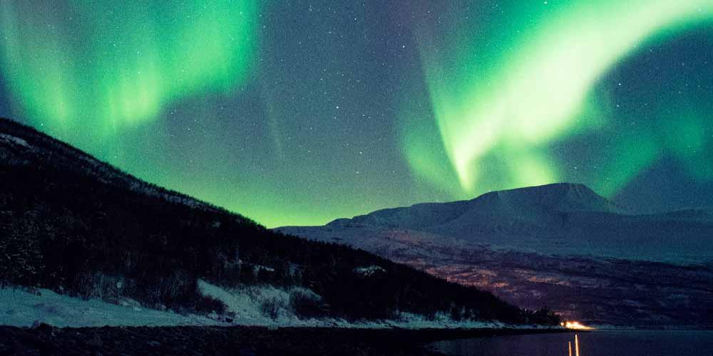 Fotografía de las auroras boreales de Noruega.