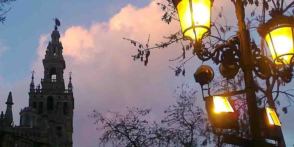 Vista de una visita nocturna a la Catedral de Sevilla.