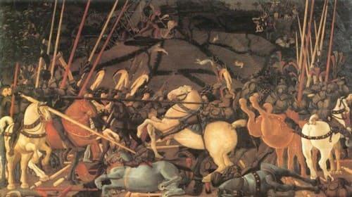 La Batalla de San Romano de Paolo Uccello en la Galería Uffizi